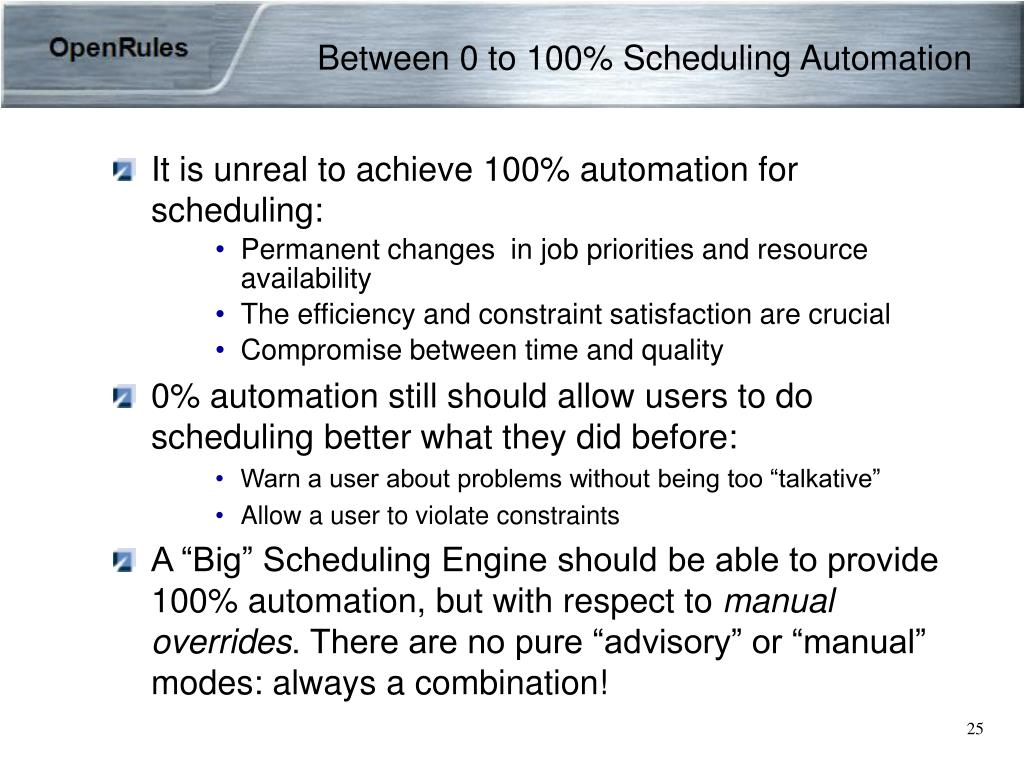 Between 0 to 100% Scheduling Automation