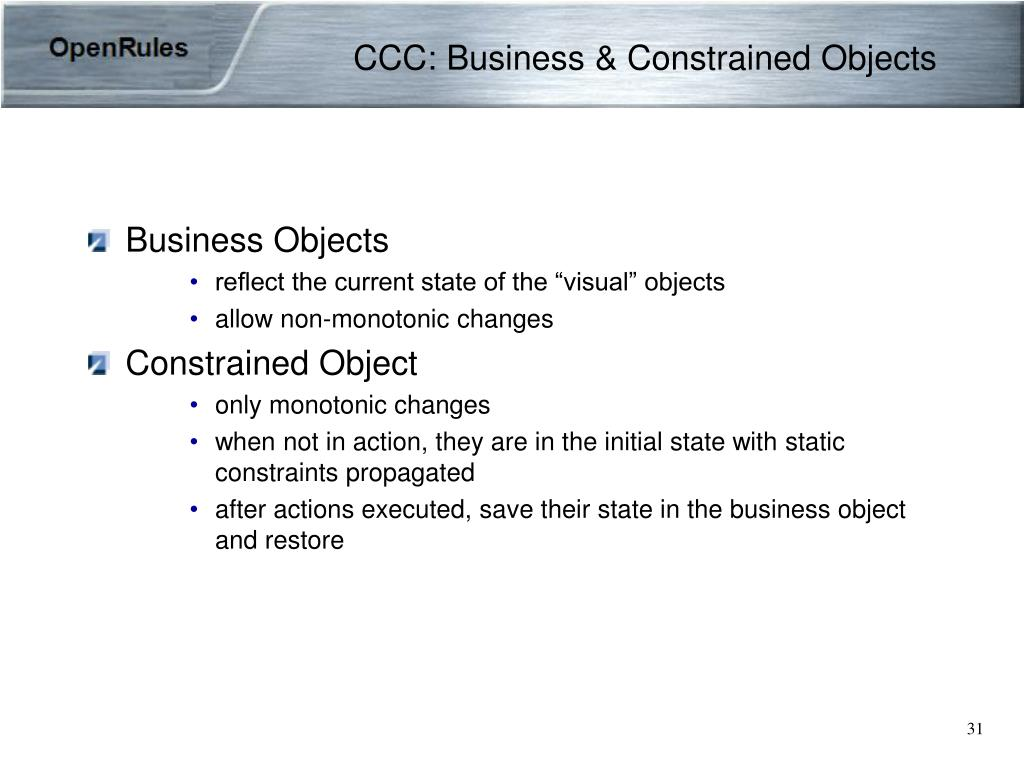 CCC: Business & Constrained Objects