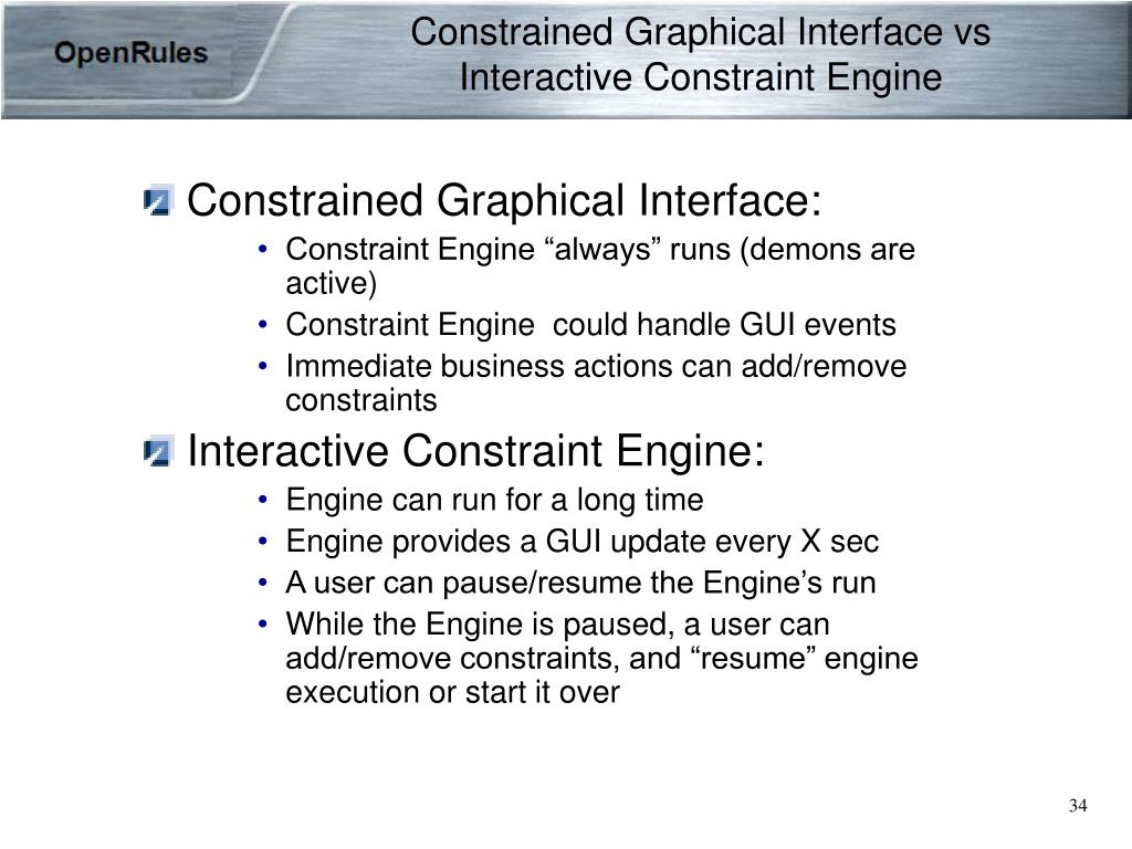 Constrained Graphical Interface vs