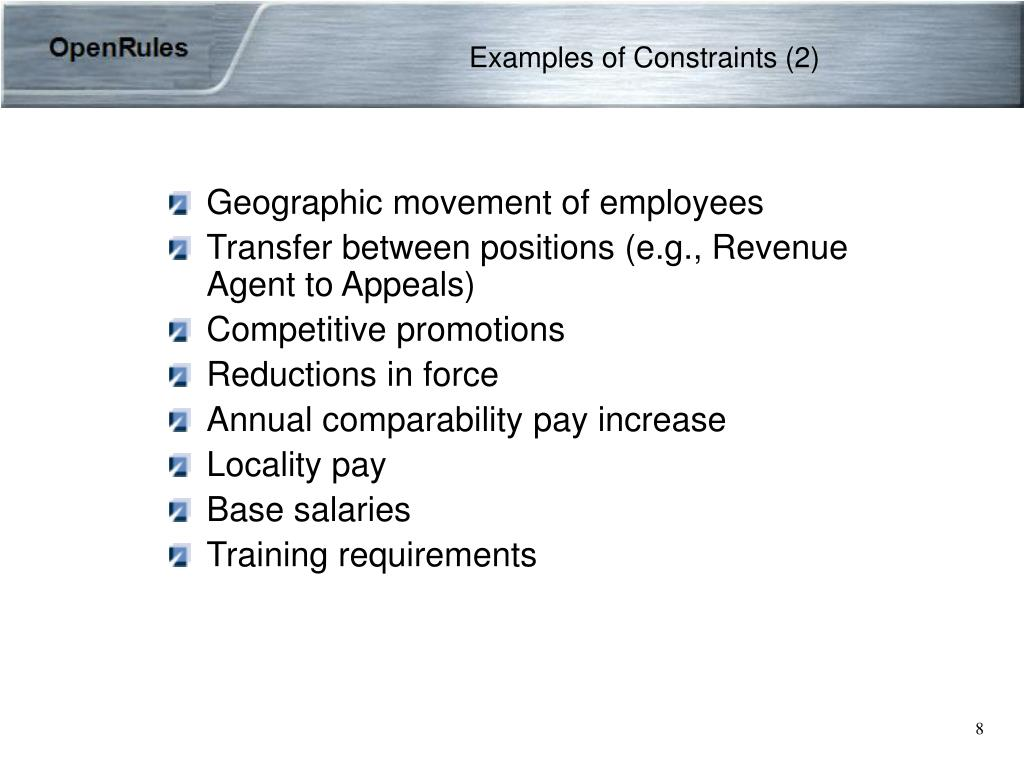 Examples of Constraints (2)