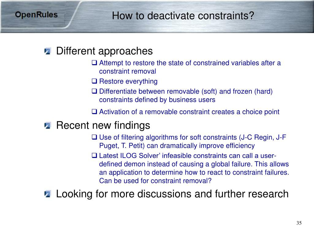 How to deactivate constraints?