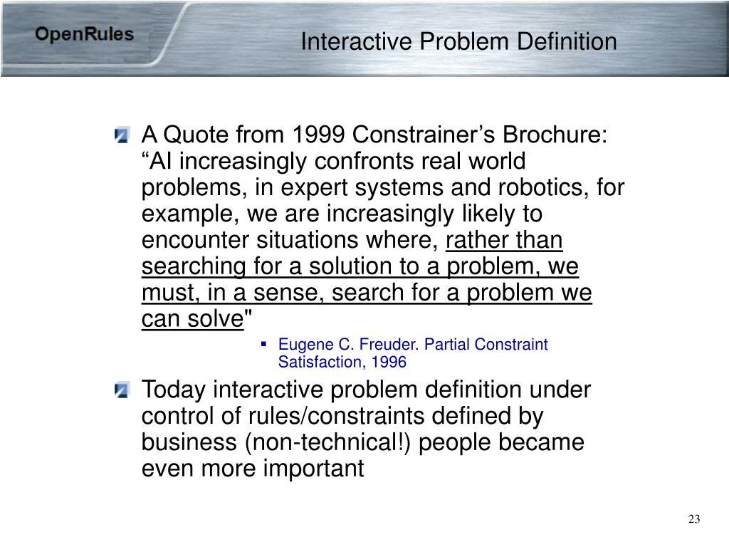 Interactive Problem Definition