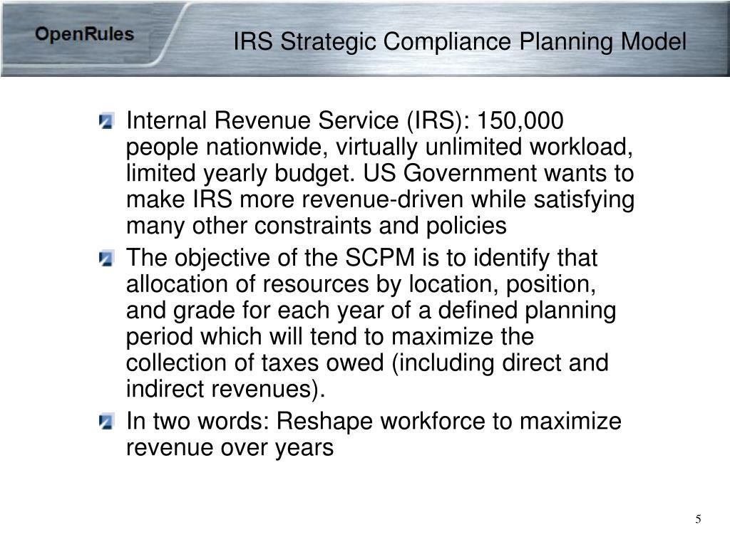 IRS Strategic Compliance Planning Model
