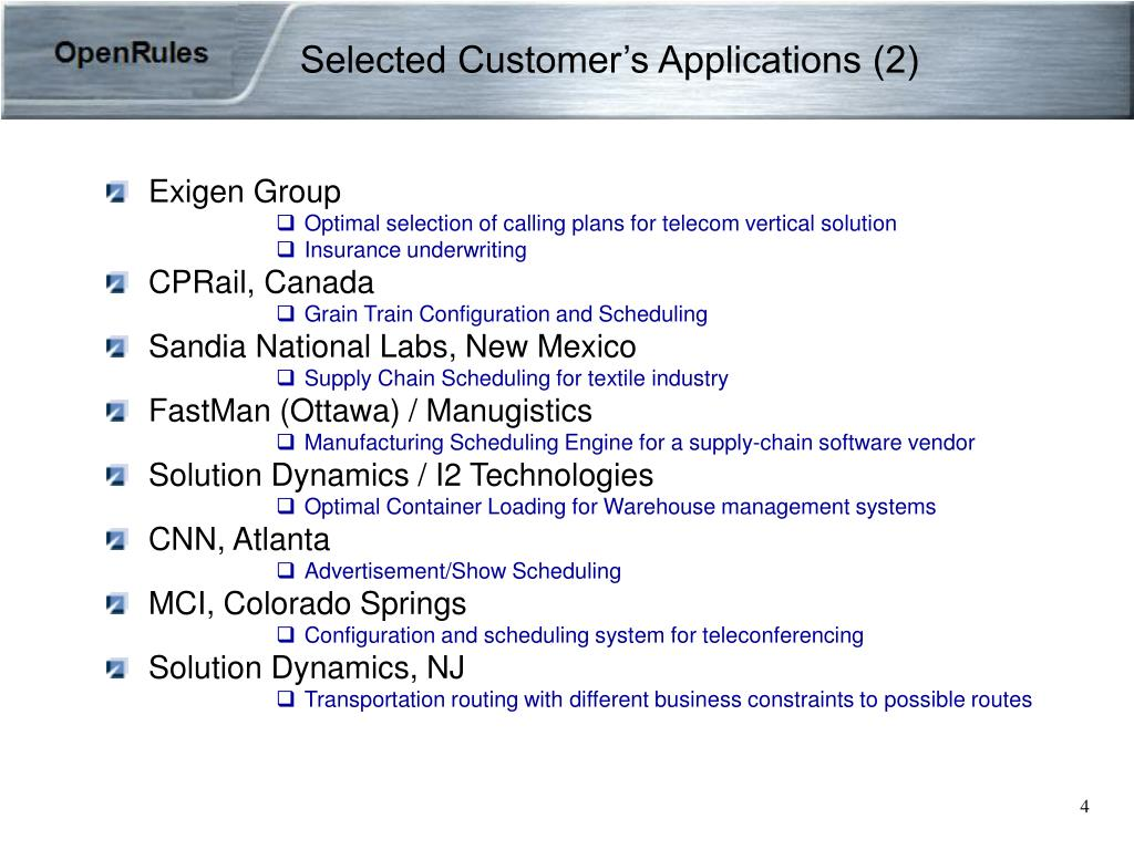 Selected Customer's Applications (2)