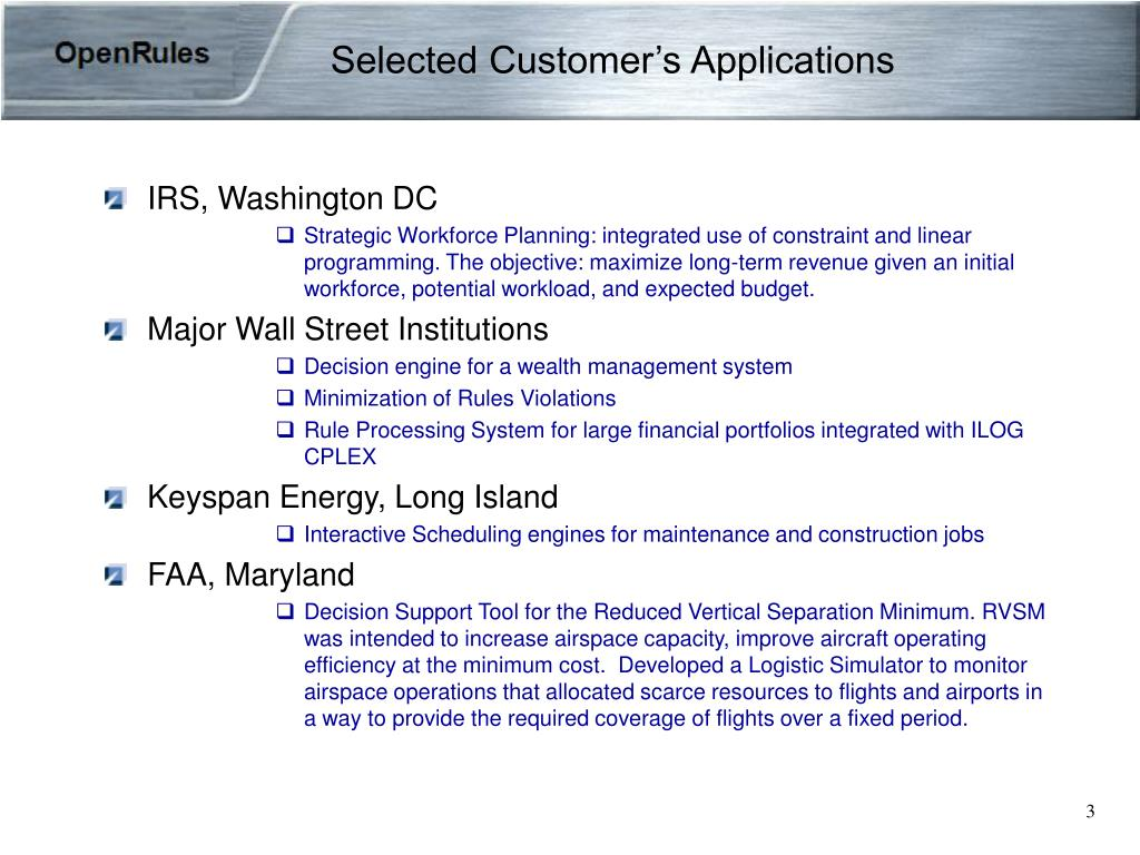 Selected Customer's Applications