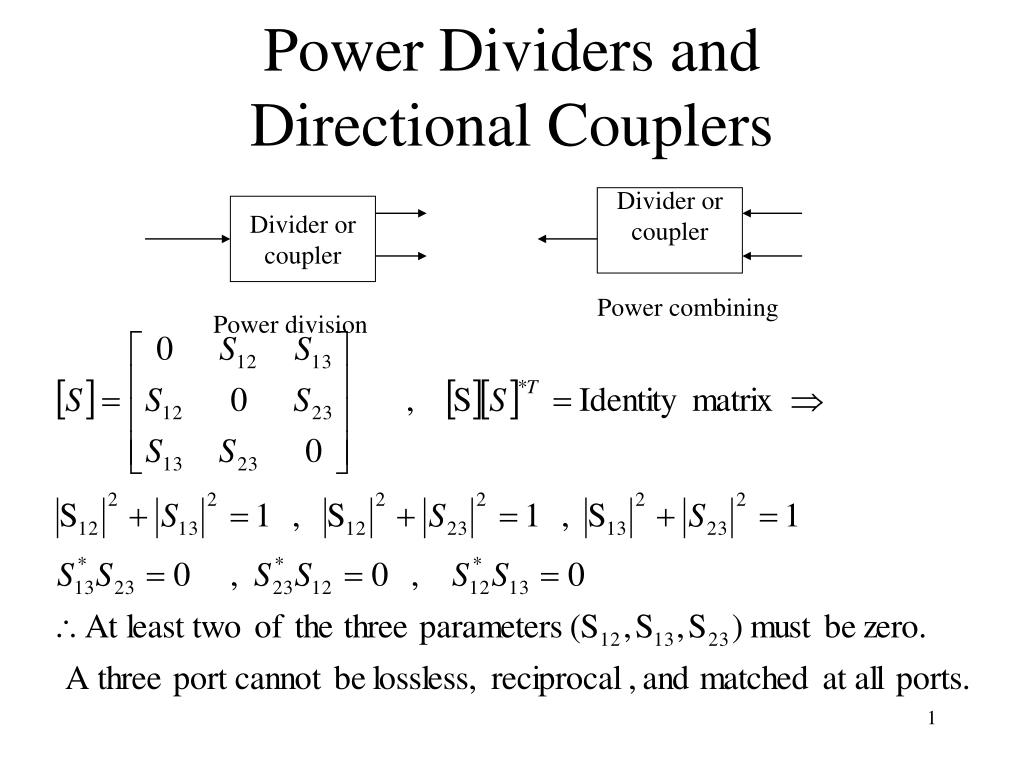 power dividers and directional couplers
