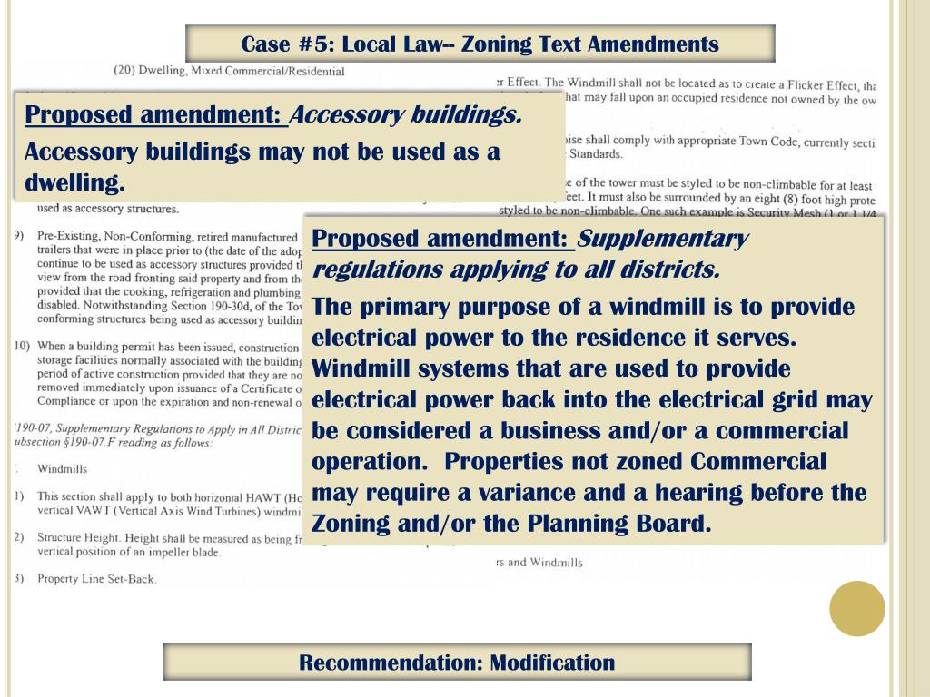 Case #5: Local Law-- Zoning Text Amendments