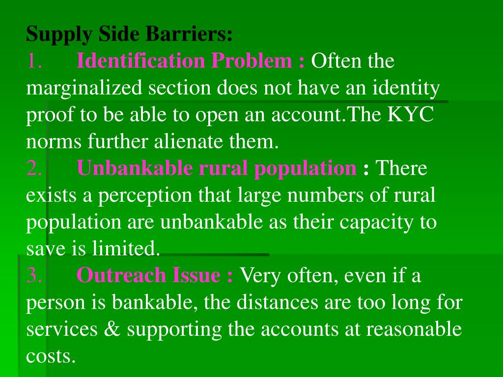 Supply Side Barriers: