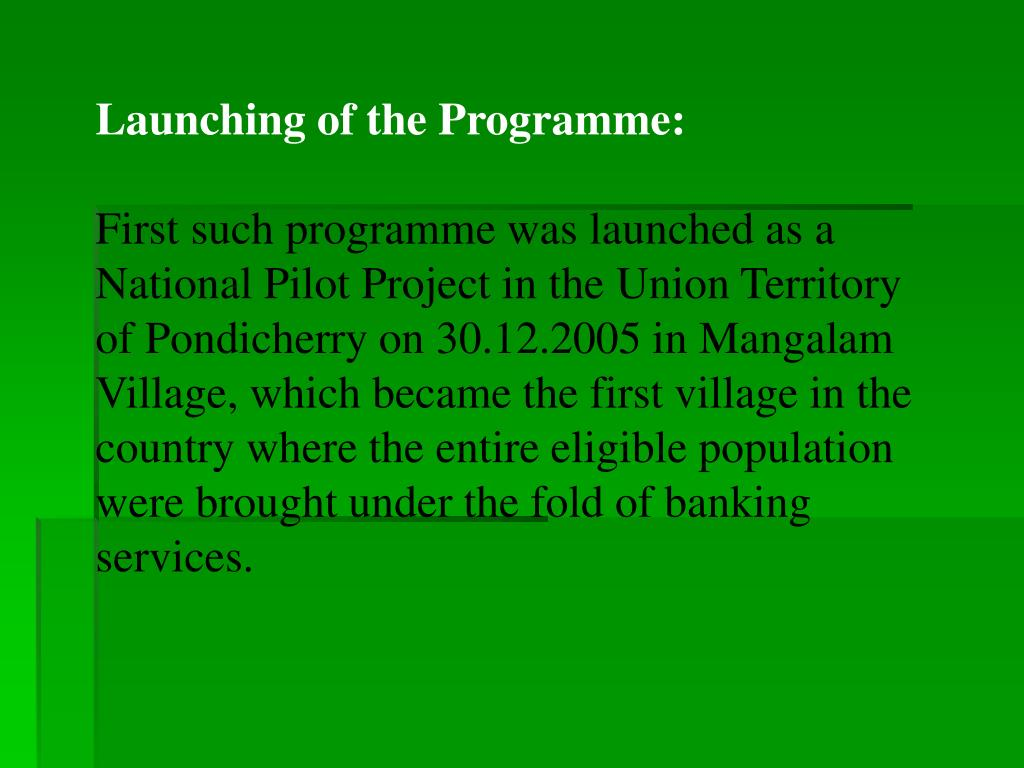 Launching of the Programme: