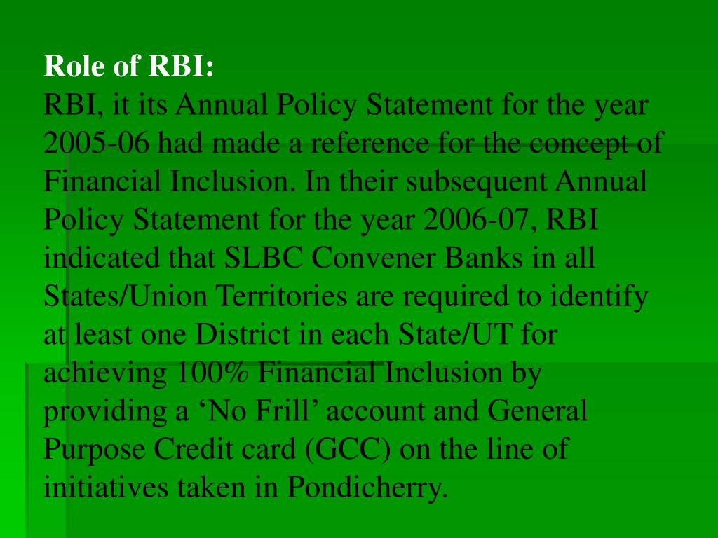 Role of RBI: