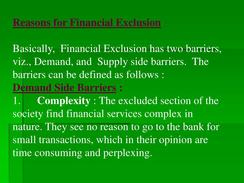 Reasons for Financial Exclusion