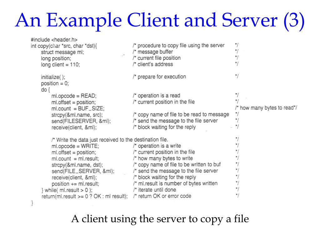 An Example Client and Server (3)