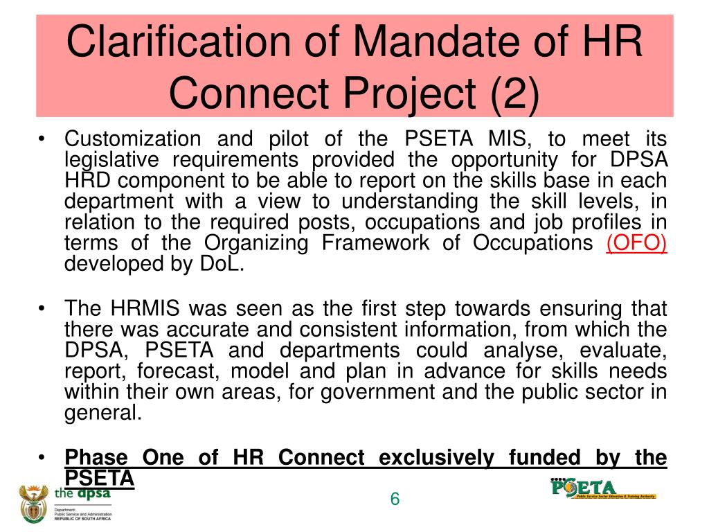Clarification of Mandate of HR Connect Project (2)