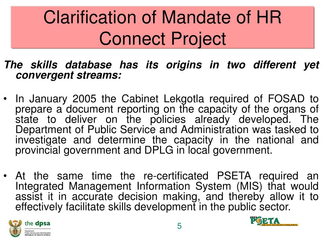 Clarification of Mandate of HR Connect Project
