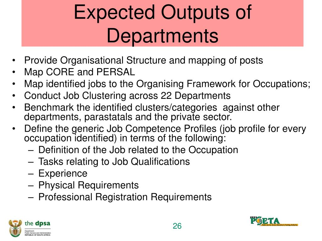 Expected Outputs of Departments