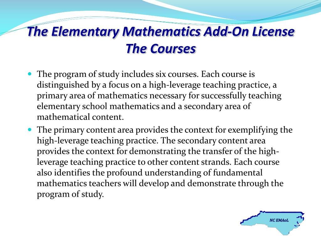 The Elementary Mathematics Add-On License