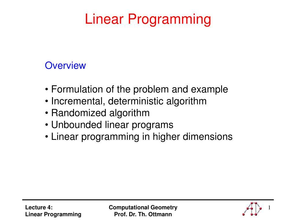 linear programming l.