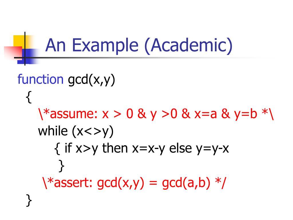 An Example (Academic)