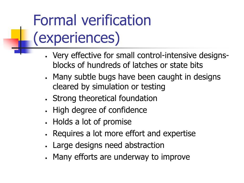 Formal verification (experiences)
