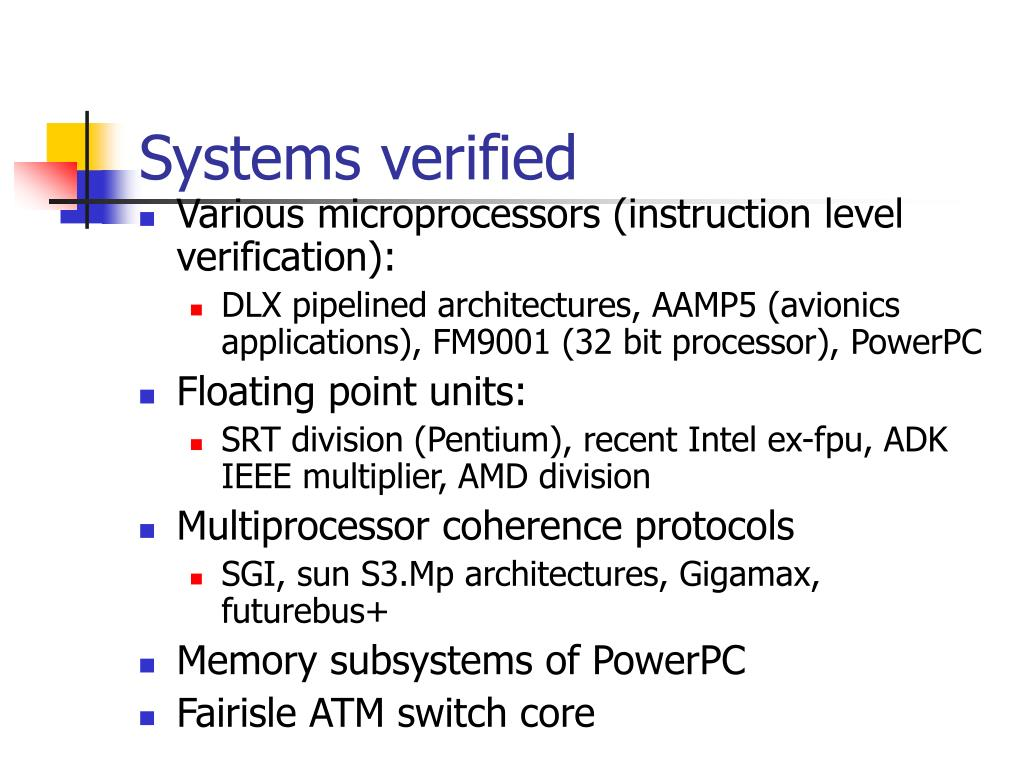 Systems verified