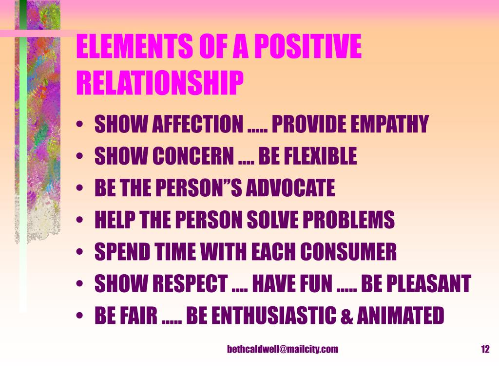 ELEMENTS OF A POSITIVE RELATIONSHIP