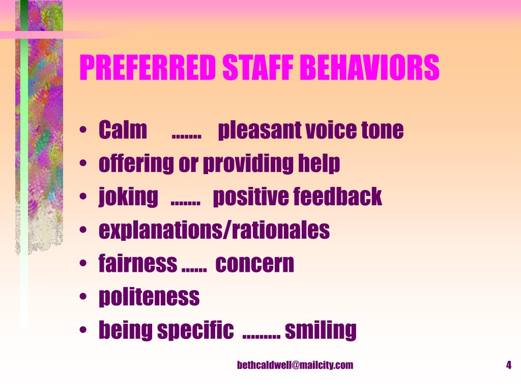 PREFERRED STAFF BEHAVIORS