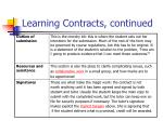 learning contracts continued