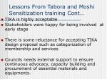lessons from tabora and moshi sensitization training cont