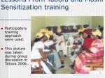 lessons from tabora and moshi sensitization training