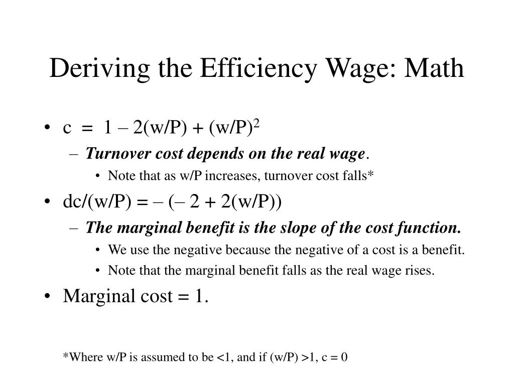 Deriving the Efficiency Wage: Math