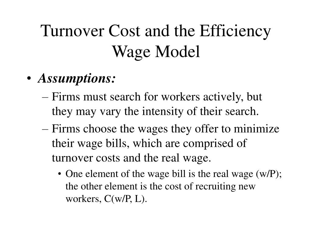 Turnover Cost and the Efficiency Wage Model