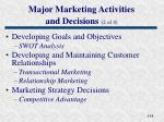 major marketing activities and decisions 2 of 4