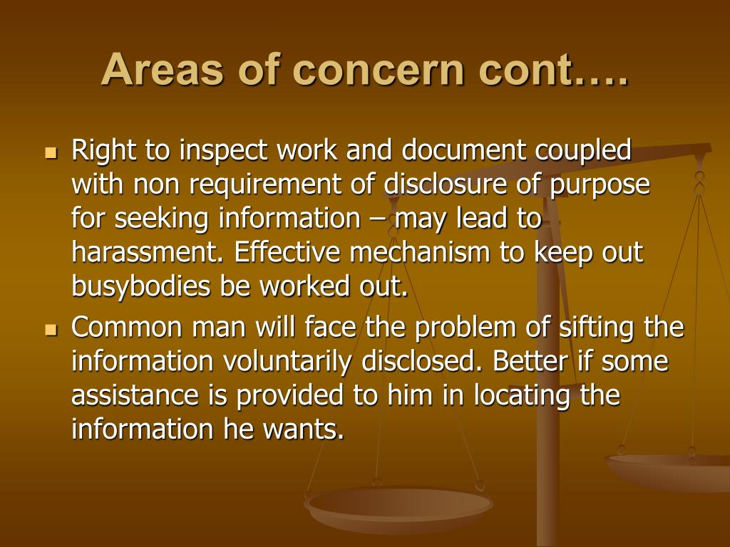 Areas of concern cont….