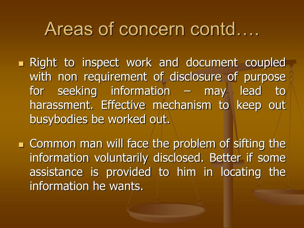 Areas of concern contd….