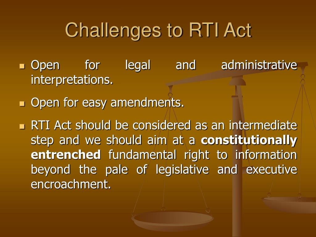Challenges to RTI Act