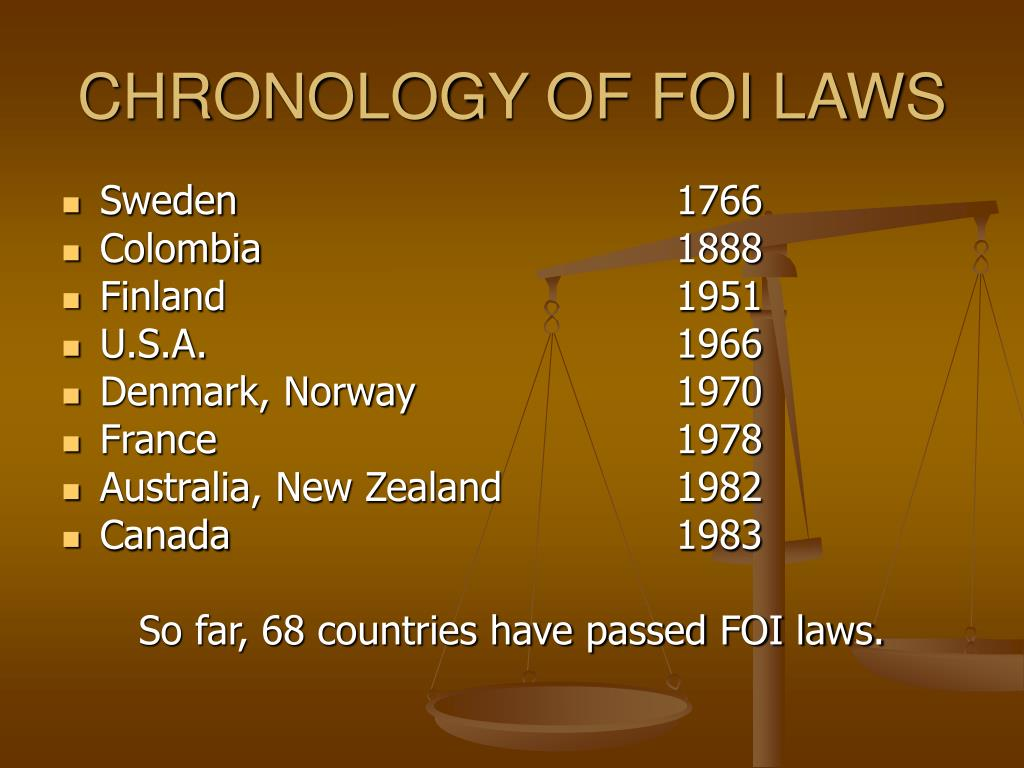 CHRONOLOGY OF FOI LAWS