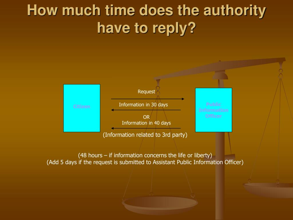 How much time does the authority have to reply?