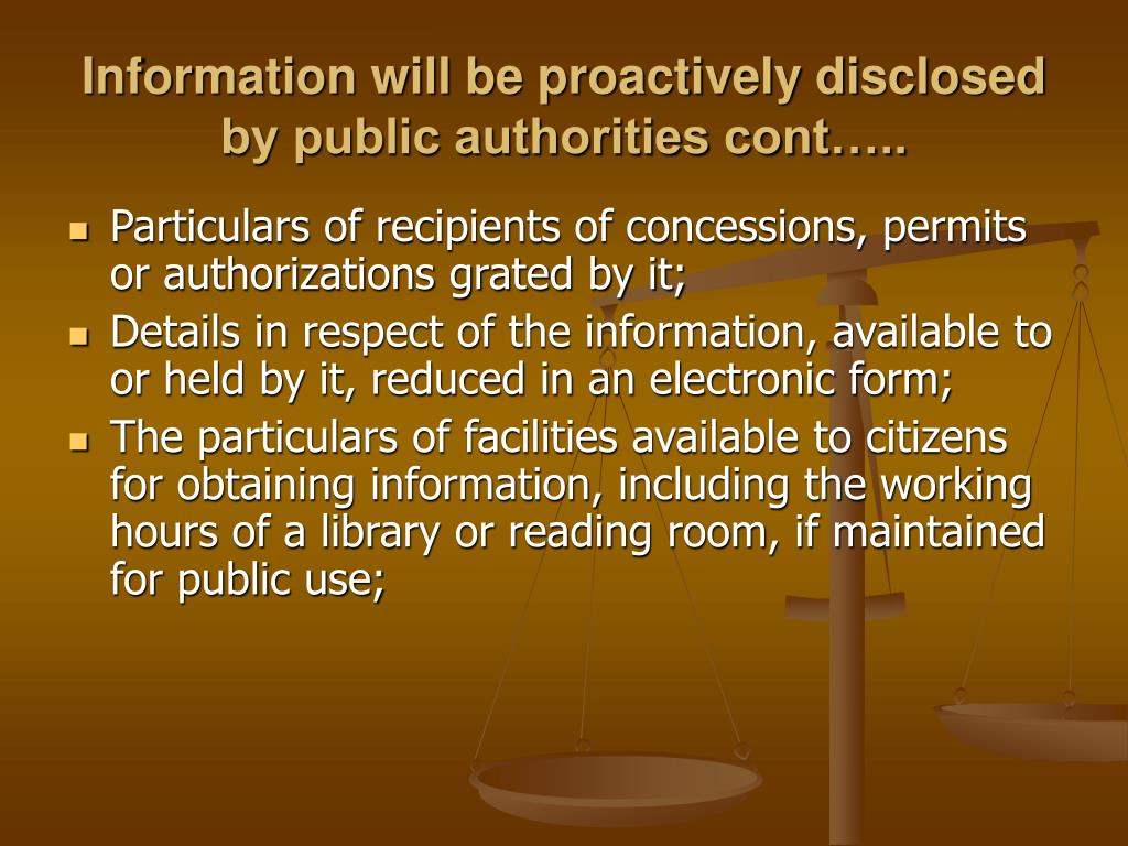 Information will be proactively disclosed by public authorities cont…..