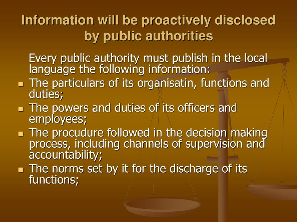 Information will be proactively disclosed by public authorities