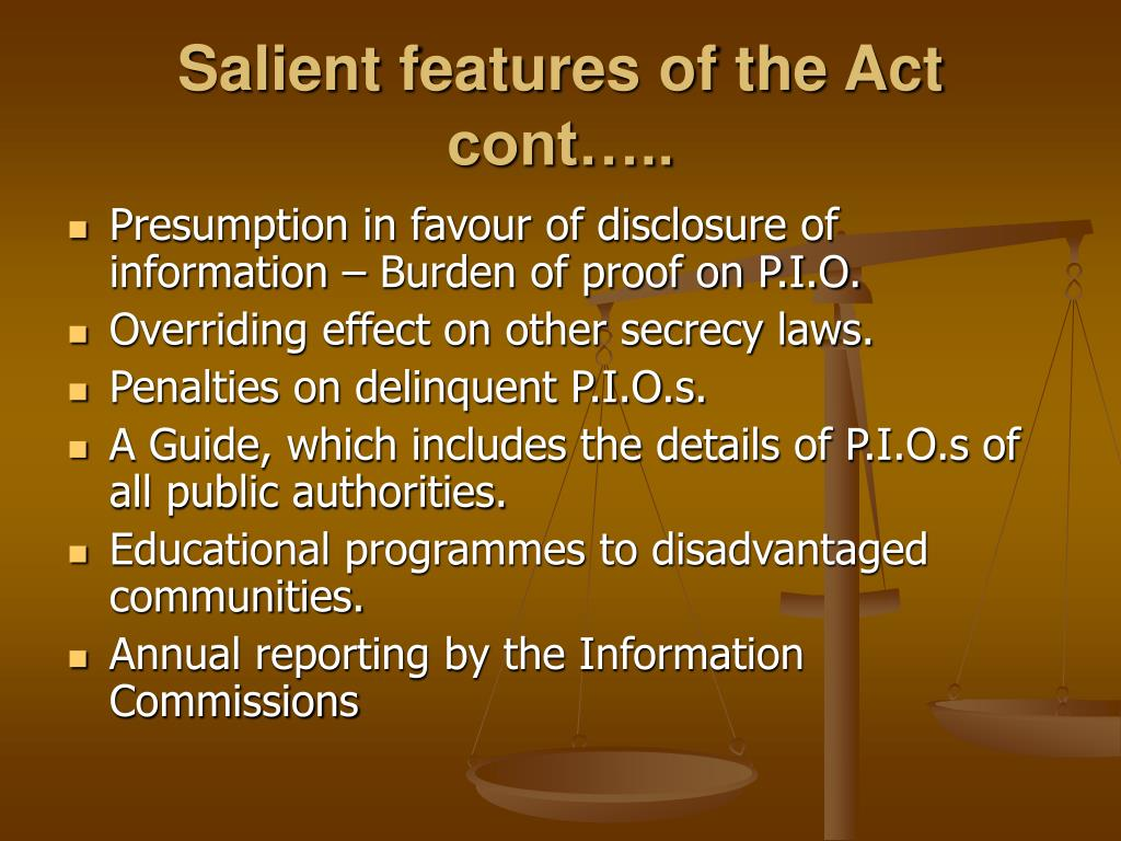 Salient features of the Act cont…..