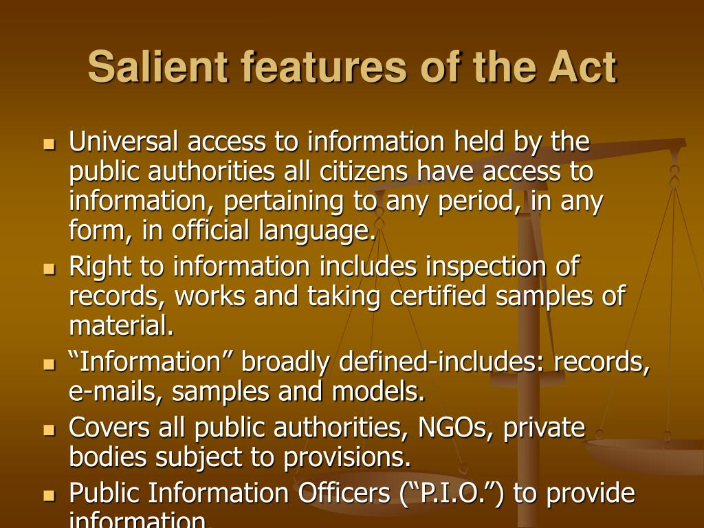 Salient features of the Act