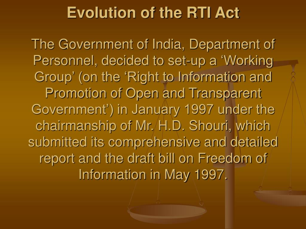 Evolution of the RTI Act