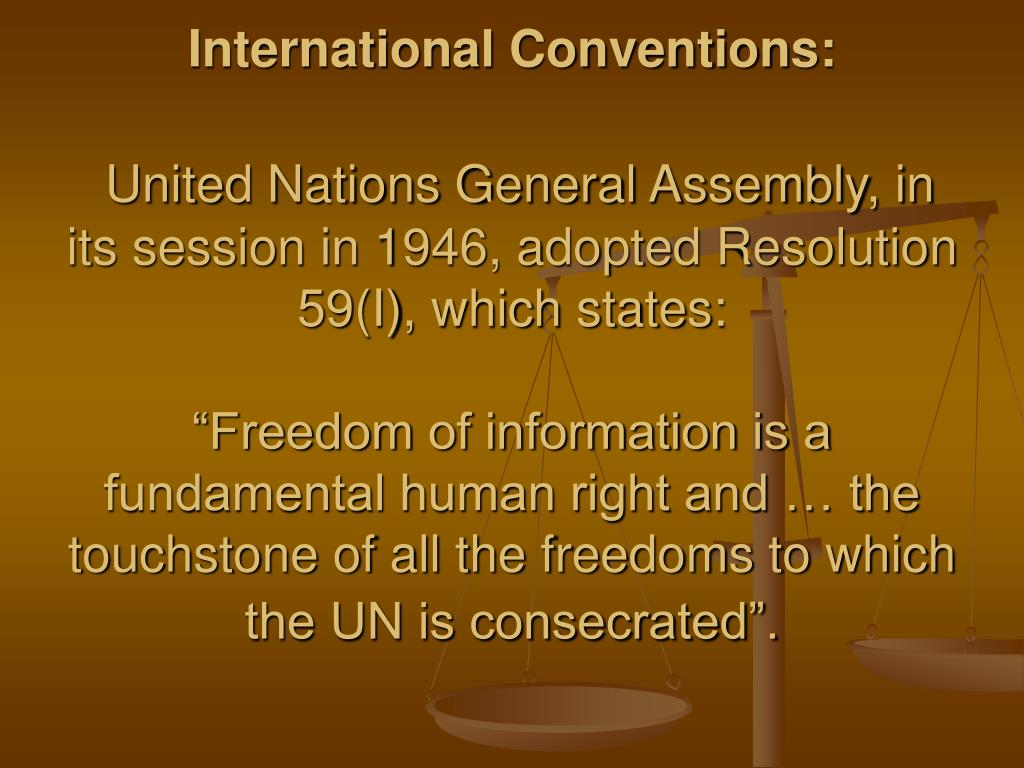 International Conventions: