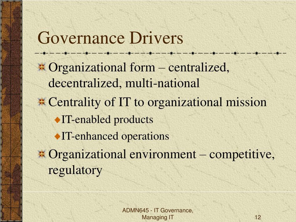 Governance Drivers