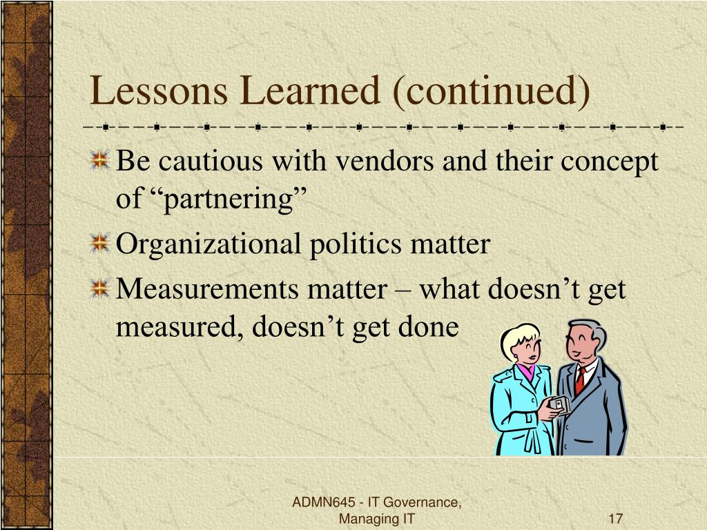 Lessons Learned (continued)