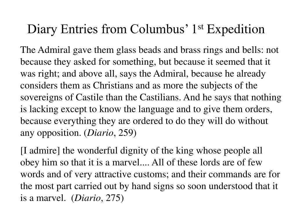 Diary Entries from Columbus' 1