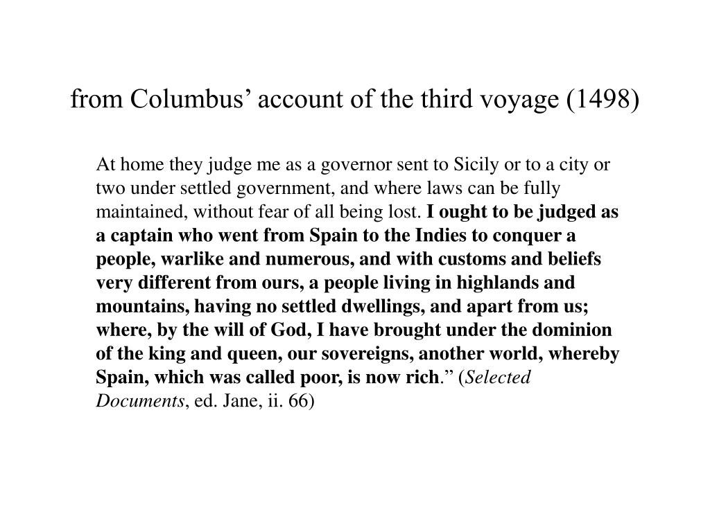 from Columbus' account of the third voyage (1498)