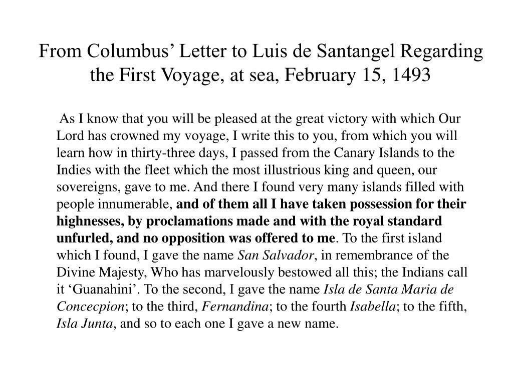 From Columbus' Letter to Luis de Santangel Regarding the First Voyage, at sea, February 15, 1493