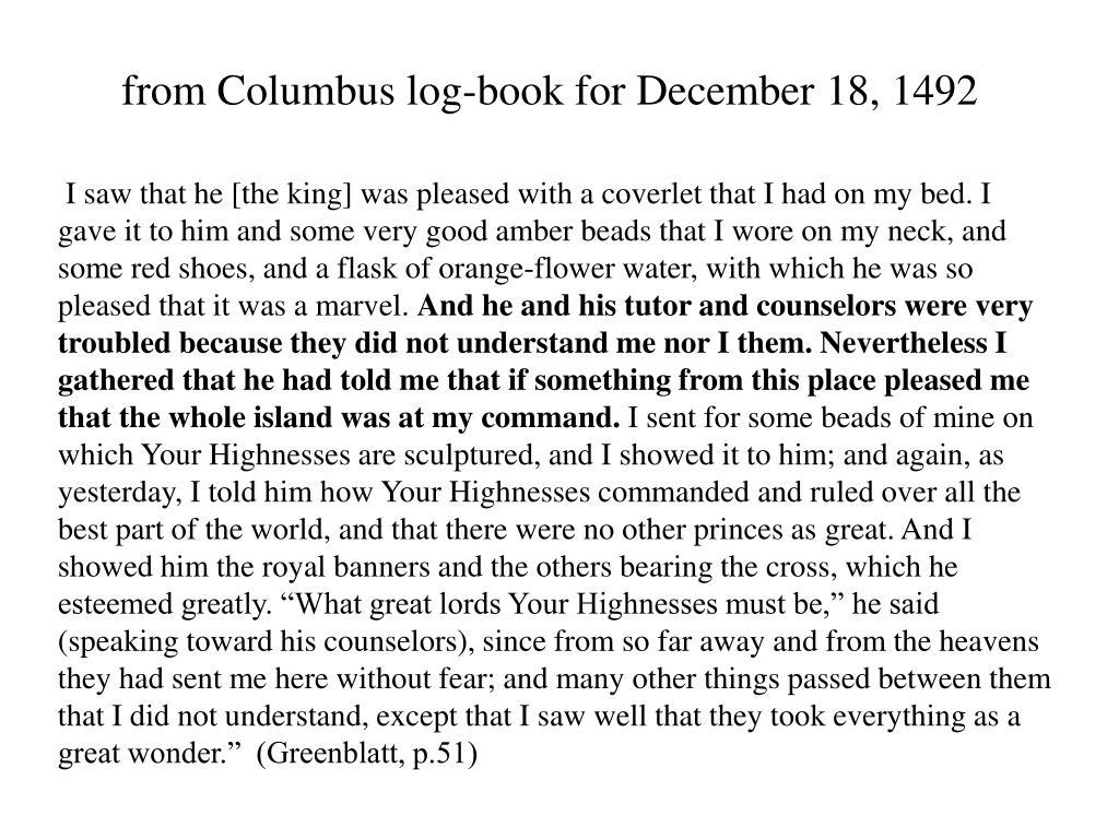 from Columbus log-book for December 18, 1492