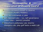 montesquieu separation of powers cont d